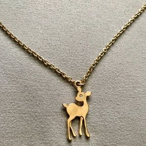 Forever 21 Fawn/Deer Gold Necklace